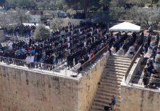 نماز جمعه ۴۰ هزار نفری با وجود استقرار تک تیراندازان صهیونیست در اطراف مسجدالاقصی