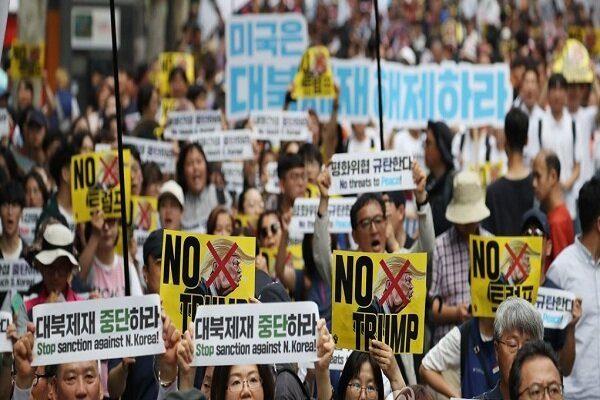 مردم کرهجنوبی با برگزاری تظاهرات به استقبال ترامپ رفتند