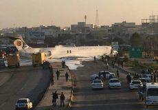خروج بوئینگ کاسپین از باند فرودگاه ماهشهر و ورود به اتوبان ماهشهر ـ اهواز
